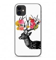 Coque en silicone Apple iPhone 11 - Cerf fleurs