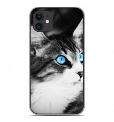 Coque en silicone Apple iPhone 11 - Chat yeux bleu