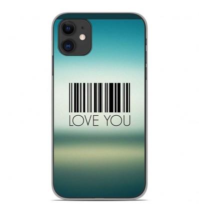 Coque en silicone Apple iPhone 11 - Code barre Love you