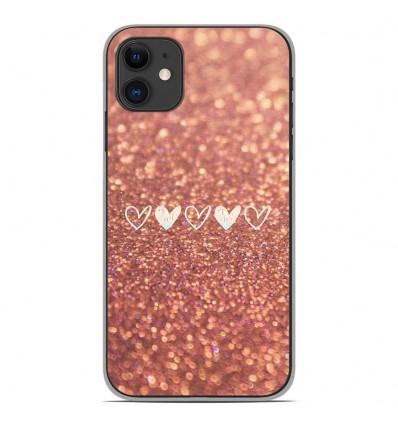 Coque en silicone Apple iPhone 11 - Paillettes coeur