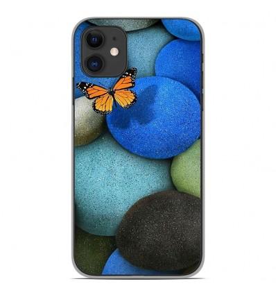Coque en silicone Apple iPhone 11 - Papillon galet bleu