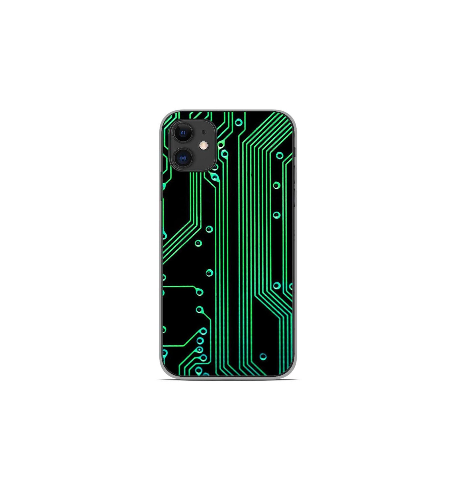 Coque en silicone Apple iPhone 11 - Texture circuit geek