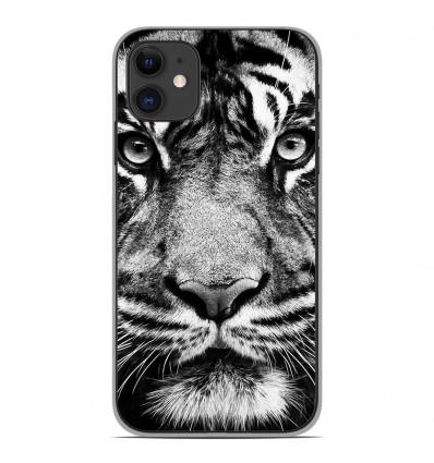 Coque en silicone Apple iPhone 11 - Tigre blanc et noir