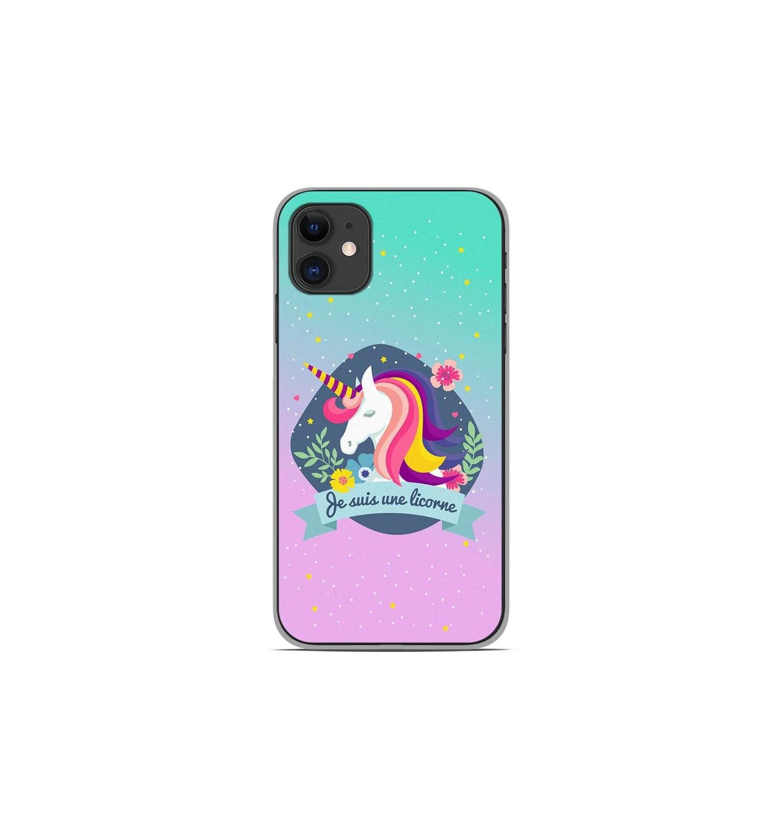 coque en silicone apple iphone 11 je suis une licorne