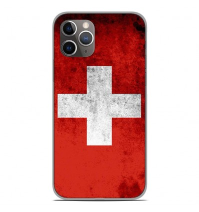 Coque en silicone Apple iPhone 11 Pro - Drapeau Suisse