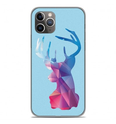Coque en silicone Apple iPhone 11 Pro - Cerf Hipster Bleu