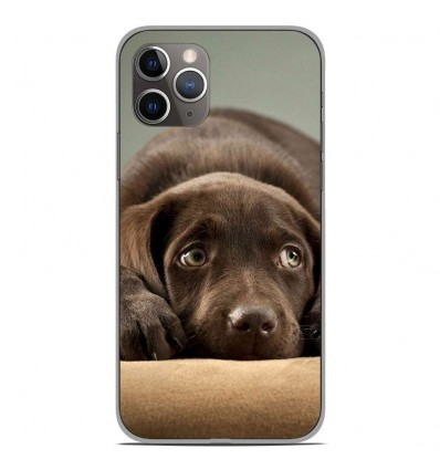 Coque en silicone Apple iPhone 11 Pro - Chiot marron