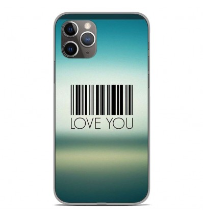 Coque en silicone Apple iPhone 11 Pro - Code barre Love you