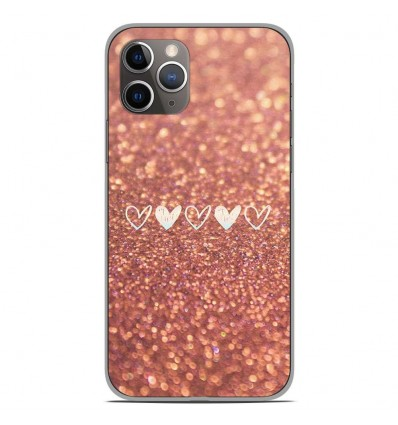 Coque en silicone Apple iPhone 11 Pro - Paillettes coeur