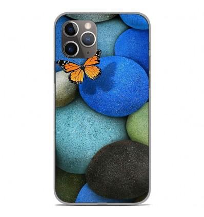 Coque en silicone Apple iPhone 11 Pro - Papillon galet bleu