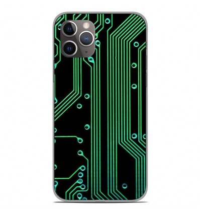 Coque en silicone Apple iPhone 11 Pro - Texture circuit geek