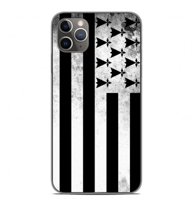 Coque en silicone Apple iPhone 11 Pro Max - Drapeau Bretagne