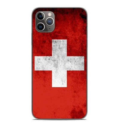 Coque en silicone Apple iPhone 11 Pro Max - Drapeau Suisse