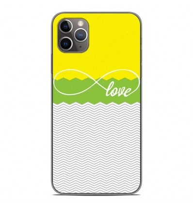 Coque en silicone pour Apple iPhone 11 Pro Max - Love Jaune