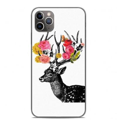 Coque en silicone Apple iPhone 11 Pro Max - Cerf fleurs