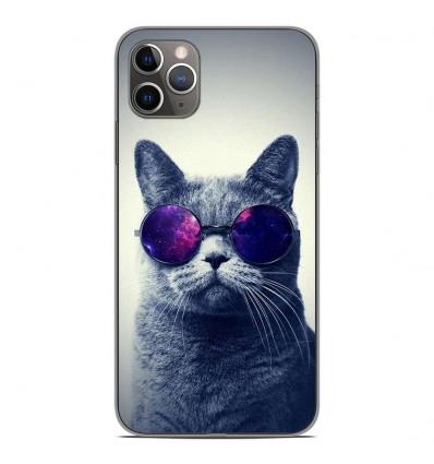 Coque en silicone Apple iPhone 11 Pro Max - Chat à lunette