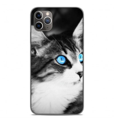 Coque en silicone Apple iPhone 11 Pro Max - Chat yeux bleu