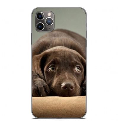 Coque en silicone Apple iPhone 11 Pro Max - Chiot marron