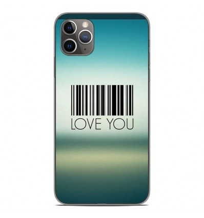 Coque en silicone Apple iPhone 11 Pro Max - Code barre Love you