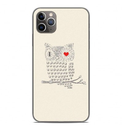 Coque en silicone Apple iPhone 11 Pro Max - I Love Hiboux