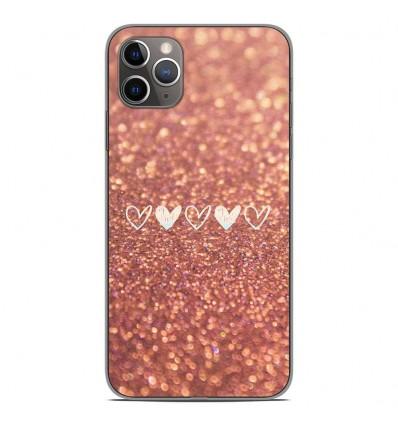 Coque en silicone Apple iPhone 11 Pro Max - Paillettes coeur