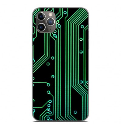 Coque en silicone Apple iPhone 11 Pro Max - Texture circuit geek