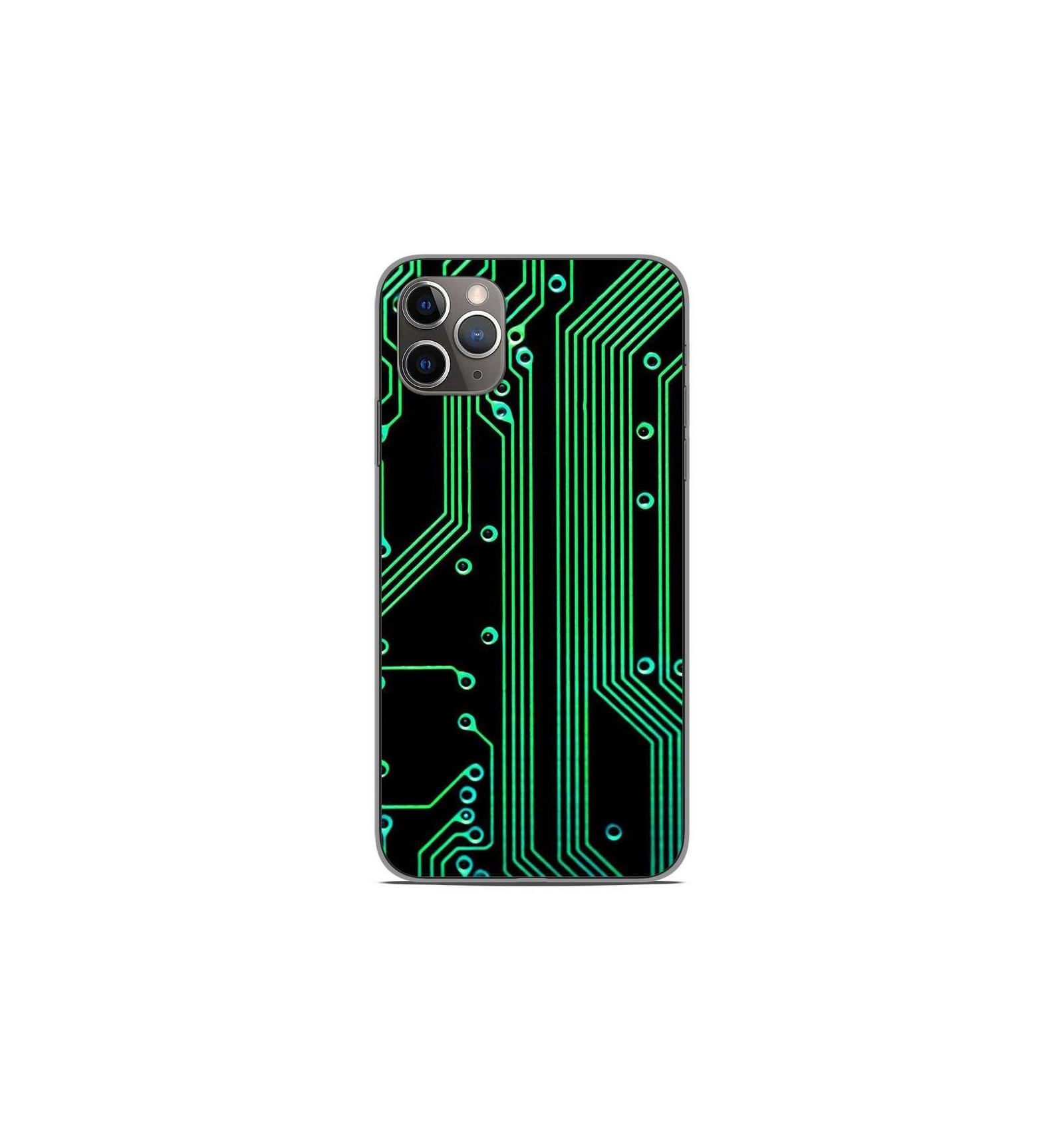 coque en silicone apple iphone 11 pro max texture circuit geek