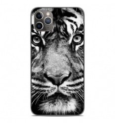 Coque en silicone Apple iPhone 11 Pro Max - Tigre blanc et noir