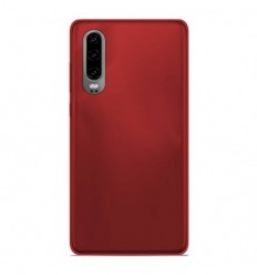 Coque Huawei P30 Silicone Gel givré - Rouge Translucide