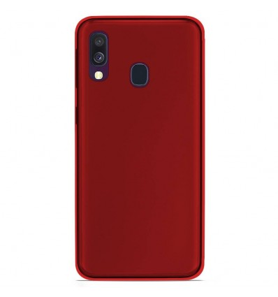 Coque Samsung Galaxy A40 Silicone Gel givré - Rouge Translucide