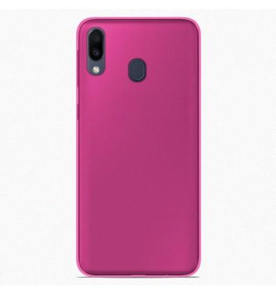 Coque Samsung Galaxy M20 Silicone Gel givré - Rose Translucide