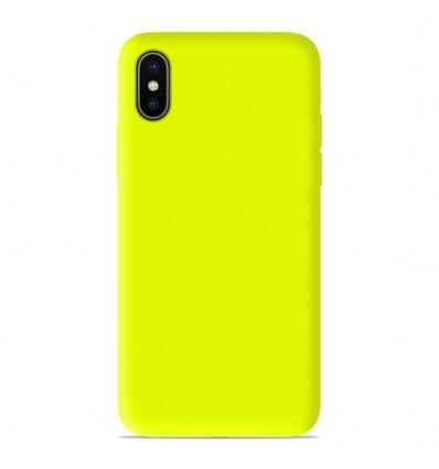 Coque Apple iPhone X/XS Silicone Gel mat - Jaune Mat