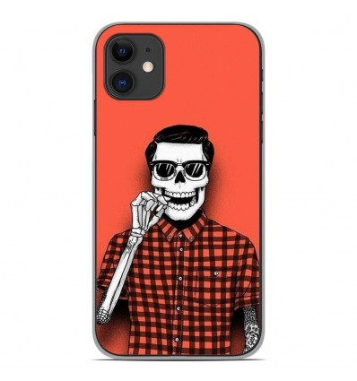 Coque en silicone Apple iPhone 11 - Skull Hipster red shirt