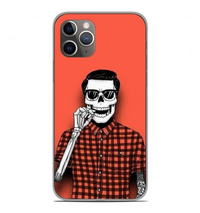 Coque en silicone Apple iPhone 11 Pro - Skull Hipster red shirt