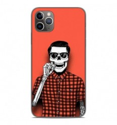 Coque en silicone Apple iPhone 11 Pro Max - Skull Hipster red shirt