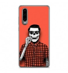 Coque en silicone Huawei P30 - Skull Hipster red shirt