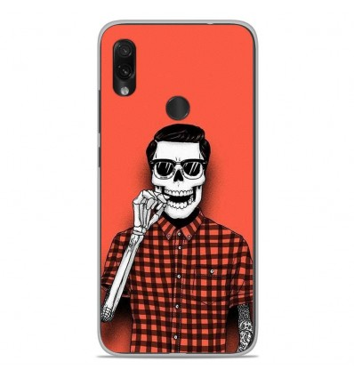 Coque en silicone Xiaomi Redmi Note 7 / Note 7 Pro - Skull Hipster red shirt