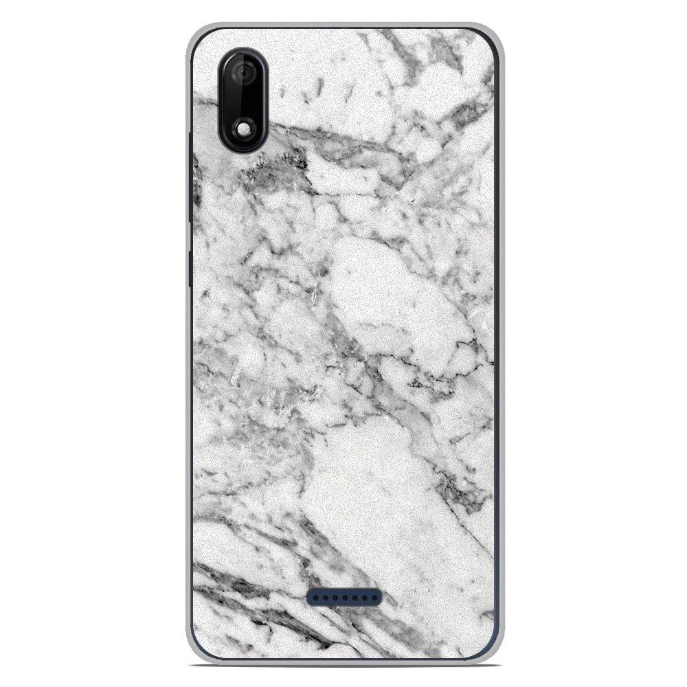 Coque en silicone Wiko Y80 - Marbre Blanc