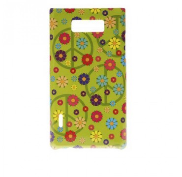 Coque rigide LG Optimus L7 motif - Peace and love fleurs colorées