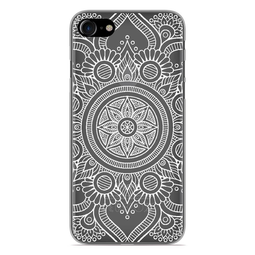 Coque en silicone Apple iPhone 7 - Mandala blanc