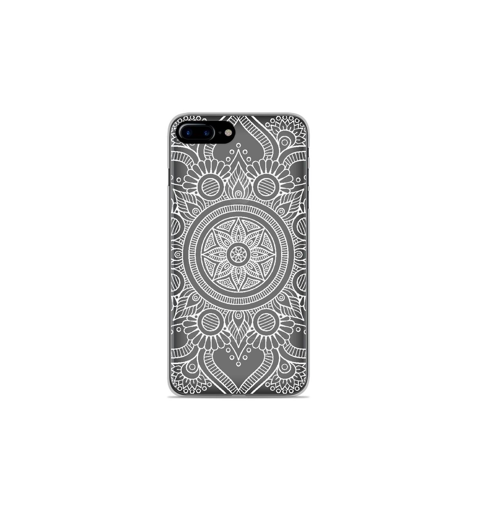 coque en silicone apple iphone 8 plus mandala blanc