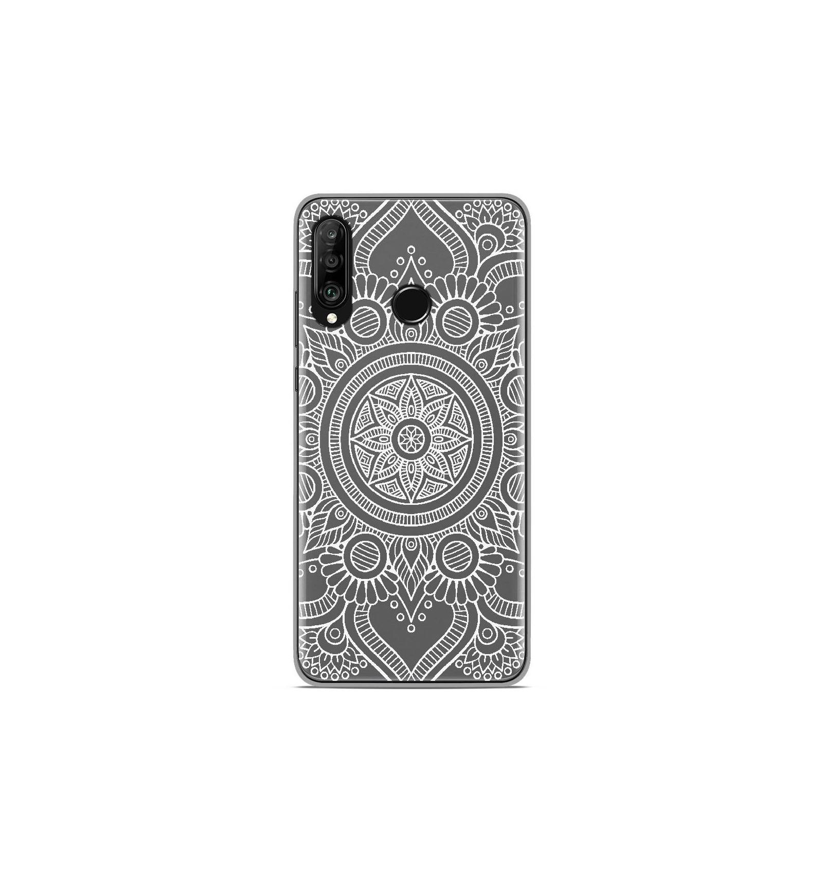 Coque en silicone Huawei P30 Lite - Mandala blanc