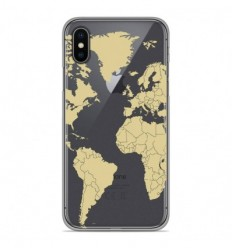 Coque en silicone Apple iPhone X / XS - Map beige