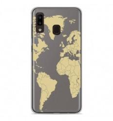 Coque en silicone Samsung Galaxy A20e - Map beige