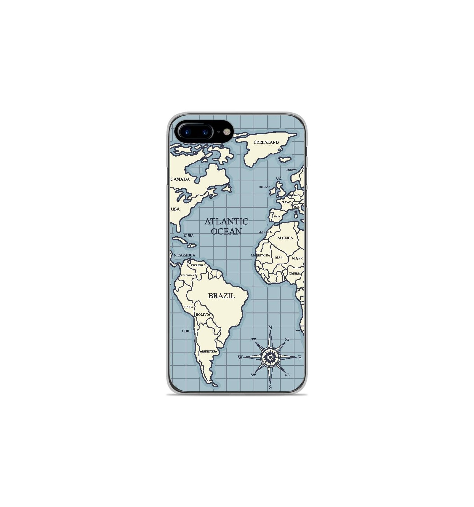 coque en silicone apple iphone 8 plus map vintage
