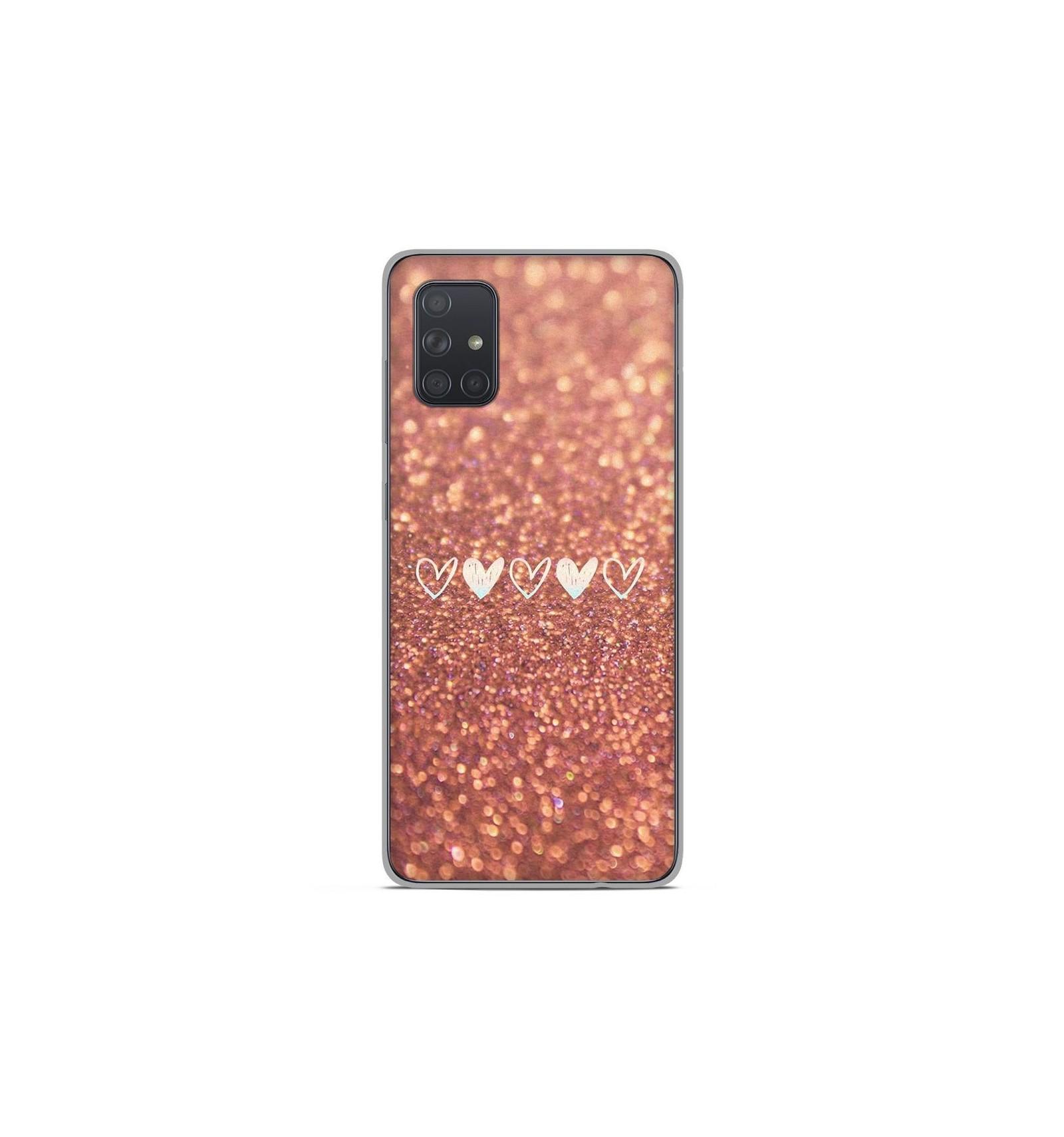 Coque en silicone Samsung Galaxy A51 - Paillettes coeur