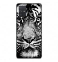 Coque en silicone Samsung Galaxy A51 - Tigre blanc et noir