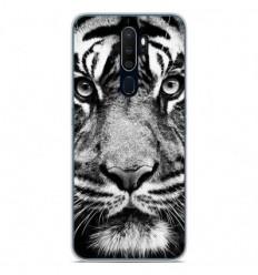 Coque en silicone Oppo A9 2020 - Tigre blanc et noir