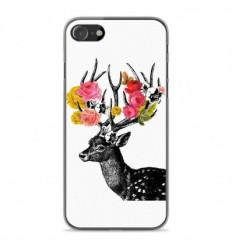 Coque en silicone Apple iPhone SE 2020 - Cerf fleurs