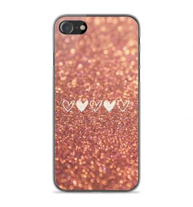 Coque en silicone Apple iPhone SE 2020 - Paillettes coeur